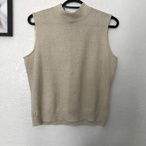 St. John cream sleeveless mock neck top   M